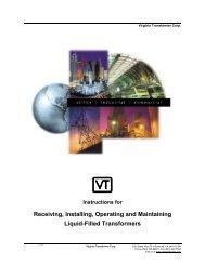 Installation & Operation Manual - Virginia Transformer Corp