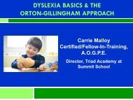 dyslexia basics & the orton-gillingham approach - Summit School