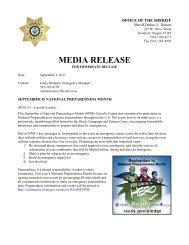 MEDIA RELEASE - Lincoln County, Oregon