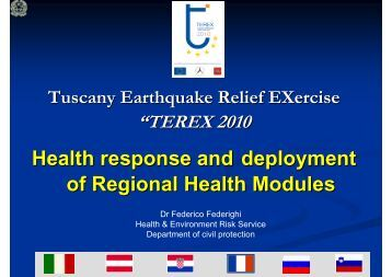 Health response and deployment of Regional Health Modules