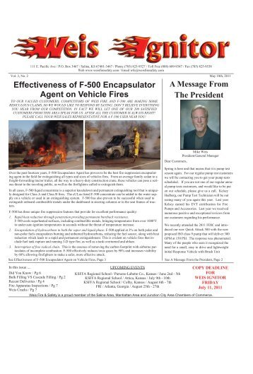 The Weis Ignitor May Issue 5-11 - Weis Fire & Safety Equipment ...