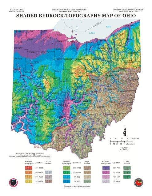 Shaded Bedrock Topography Map Of Ohio Adams County Ohio
