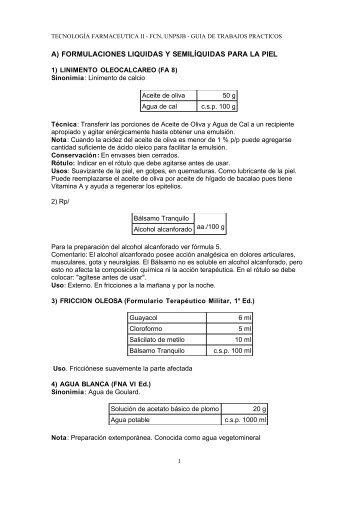 A) FORMULACIONES LIQUIDAS Y SEMILÍQUIDAS PARA LA PIEL
