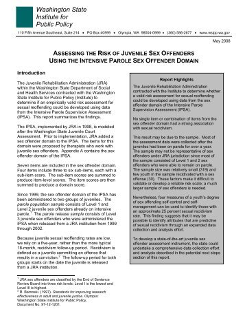 Assessing the Risk of Juvenile Sex Offenders Using the Intensive ...