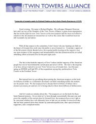Hughes Remarks 12/3/09 - The Twin Towers Alliance