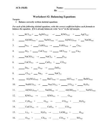 Worksheet Balancing Equations