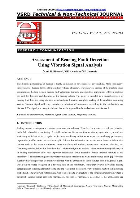 Assessment of Bearing Fault Detection Using Vibration Signal