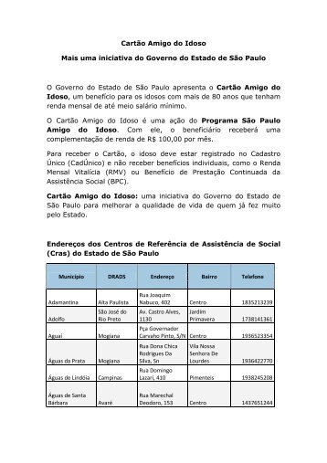 Endereços Cras 2013 - Secretaria de Desenvolvimento Social ...