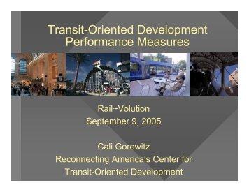 Transit-Oriented Development Performance Measures - Rail~Volution