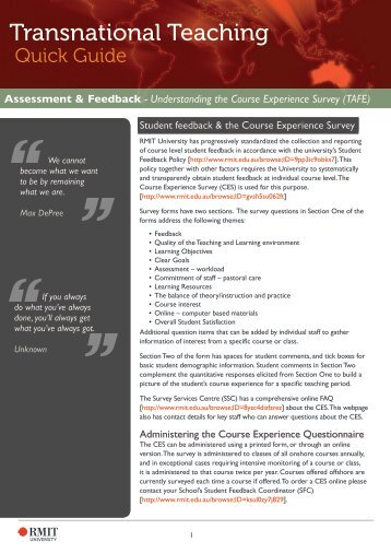 Understanding the Course Experience Survey ... - RMIT University