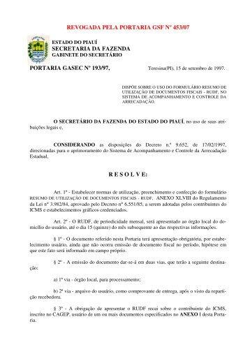 revogada pela portaria gsf nº 453/07 secretaria da fazenda portaria ...