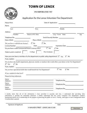 lenox-fire-department-volunteer-application-form Volunteer Fire Department Application Forms on volunteer library application, volunteer fire company, fire department job application, volunteer fire recruit,
