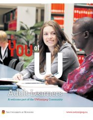 Adult Learner Brochure - University of Winnipeg
