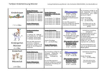 Kinderbetreuungseinrichtungen ab September 2013