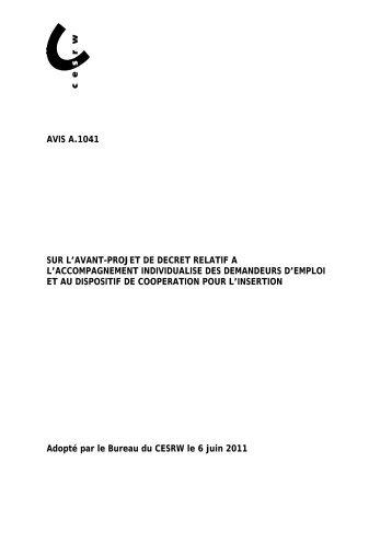 AVIS - Conseil économique et social de la région wallonne