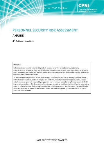 Personnel security risk assessment: A Guide - CPNI