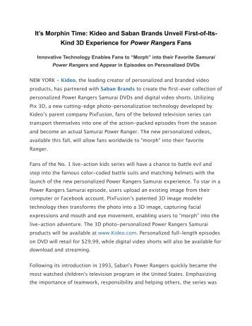 It's Morphin Time: Kideo and Saban Brands Unveil First-of-Its-Kind ...