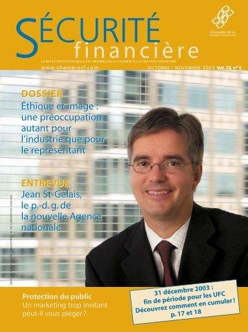 OCTOBRE / NOVEMBRE 2003 Vol. 28, no 5 - Chambre de la ...