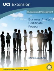 Business Analyst Certificate Program - UC Irvine Extension