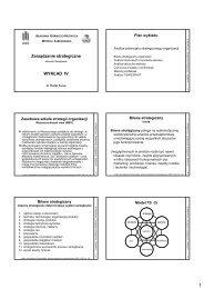 Zarządzanie strategiczne WYKŁAD IV - Wydział Zarządzania