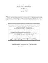 MAT 182: Trigonometry Final Exam Spring 2007 - Anthony Tanbakuchi