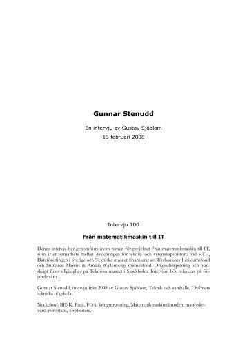 Microsoft Word - Gunnar Stenudd - Tekniska museet