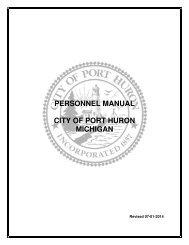 PERSONNEL MANUAL CITY OF PORT HURON MICHIGAN