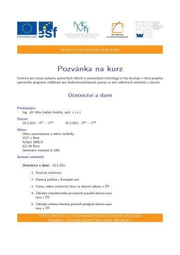 Pozvánka na kurz - Centrum pro rozvoj výzkumu pokročilých řídicích ...