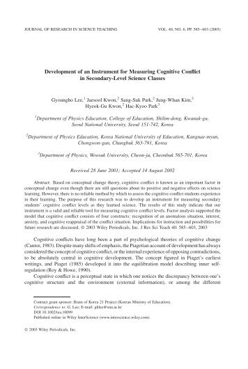 Development of an instrument for measuring cognitive conflict in ...