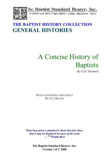 Orchard - A Concise History of Baptists - St. Paul's Seminary