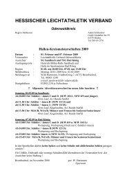 KM Halle: Lauf, Kugel, Staffel - HLV Odenwald