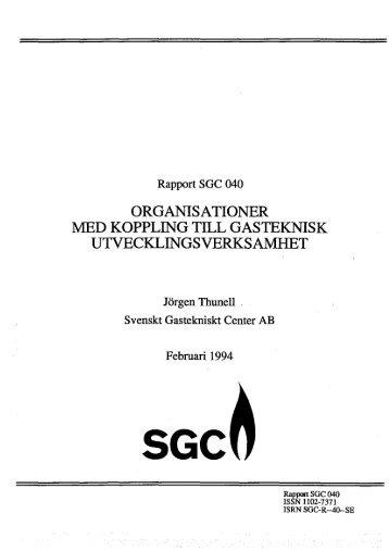 ORGANISATIONER MED KOPPLING TILL GASTEKNISK ... - SGC