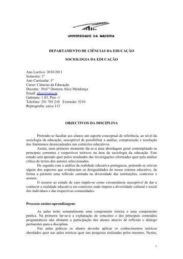 2010/2011 Semestre: 1º Ano Curricular: 1º Curso - Universidade da ...