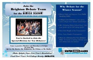 for the Winter Season! - Boston Debate League