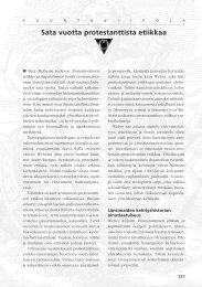 Pääkirjoitus 3/2005 Sata vuotta protestanttista etiikkaa