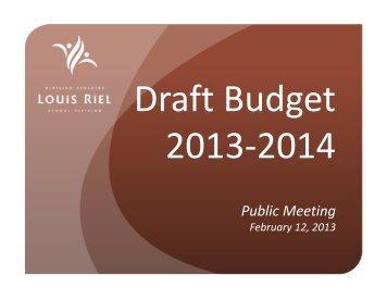 Budget 2013–2014 - Presentation - Louis Riel School Division