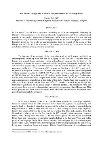 About ancient Hungarians – a review of some geneticists' publications