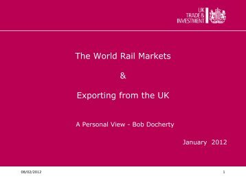 The World Rail Markets & Exporting from the UK - Rail Alliance