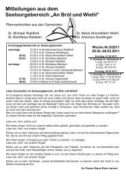 """Mitteilungen aus dem Seelsorgebereich """"An Bröl und Wiehl"""""""