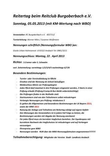 Reitertag WBO Burgoberbach 2013