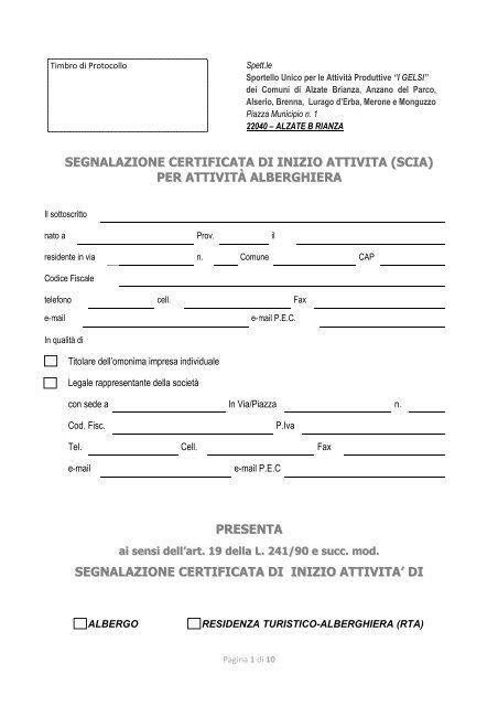 segnalazione certificata di inizio attivita (scia) per attività alberghiera ...