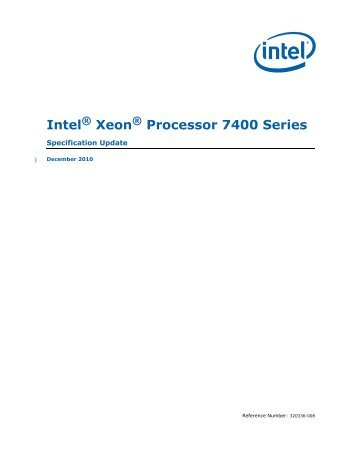 Intel® Xeon® Processor 7400 Series Specification Update