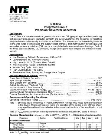 NTE864 Integrated Circuit Precision Waveform Generator