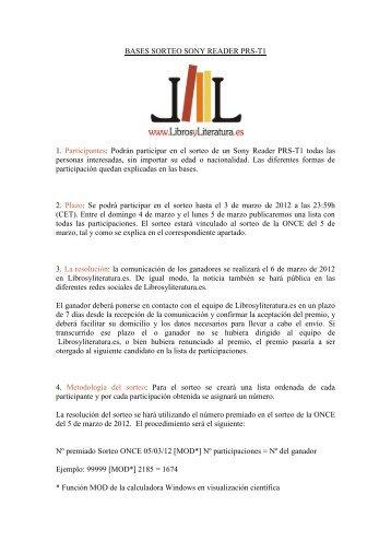 BASES SORTEO SONY READER PRS-T1 1 ... - Libros y Literatura