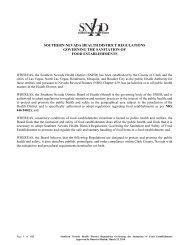 Regulations Governing the Sanitation of Food Establishments