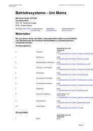 Betriebssysteme - Uni Mainz - Labor für Verteilte Systeme ...