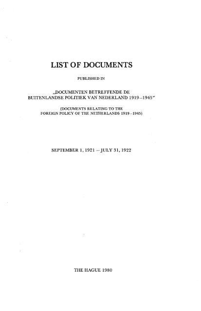 List of Documents 1 september 1921 - 31 juli 1922 - Historici.nl