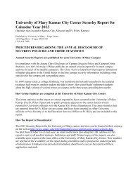 University of Mary Kansas City Center Security Report for Calendar ...