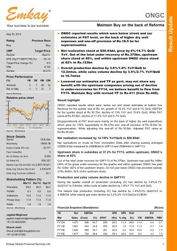 ONGC Q4FY13 Result Update - Emkay Global Financial Services Ltd.