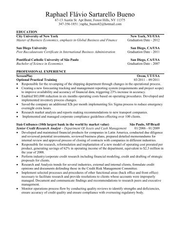 Sales And Trading Resume Sample Before - Wall Street Oasis